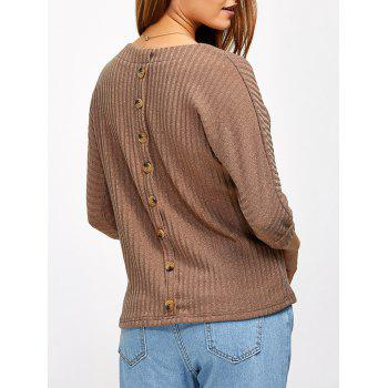 Buy Back Button Ribbed Sweater KHAKI