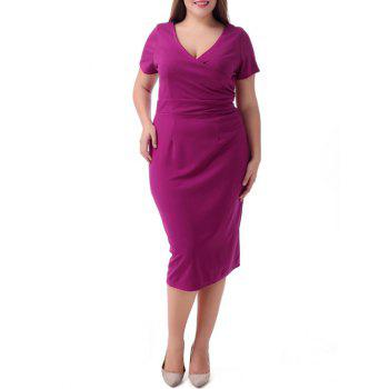 Plus Size Surplice Short Sleeve Jumper Dress