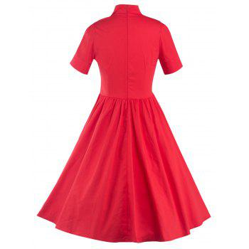 High Waisted Buttoned Flare Dress - RED RED