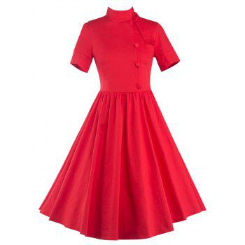 High Waisted Buttoned Flare Dress - RED 2XL