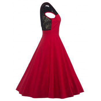 Swing Lace Back-V Hidden Zip Dress - RED RED