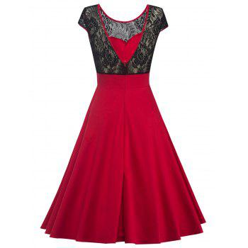 Swing Lace Back-V Hidden Zip Dress - RED M