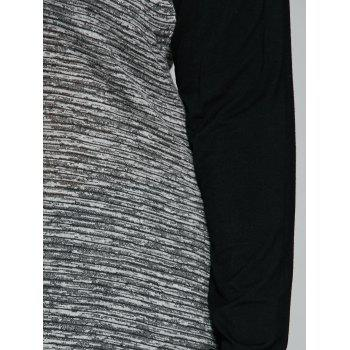 Long Sleeve Plus Size Heather Trim Asymmetrical T-Shirt - BLACK/GREY 2XL