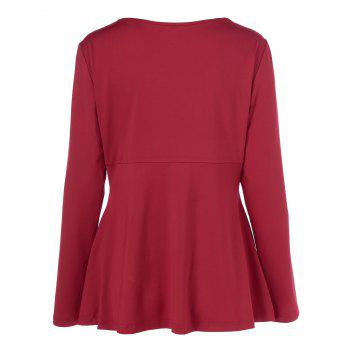 Plus Size Faux Leather Patchwork Peplum Pullover - RED/BLACK RED/BLACK
