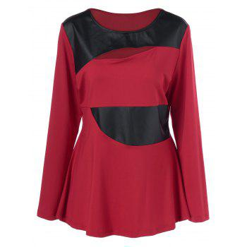 Plus Size Faux Leather Patchwork Peplum Pullover - RED WITH BLACK RED/BLACK
