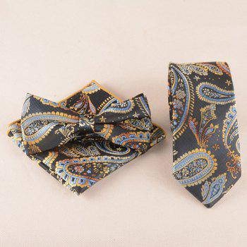 Business Suit Classic Cashews Pattern Tie Pocket Square Bow Tie