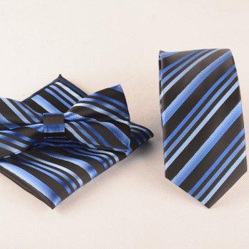 Business Suit Stripe Print Tie Pocket Square Bow Tie