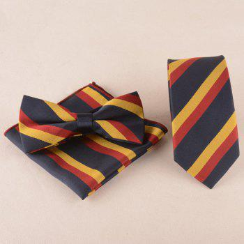 Business Suit Color Block Tie Pocket Square Bow Tie