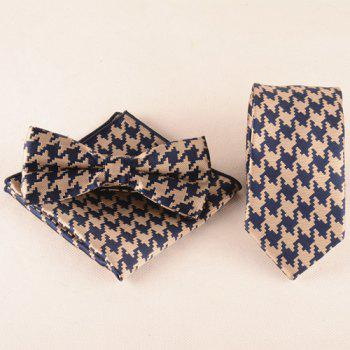 A Set of Houndstooth Pattern Tie Pocket Square Bow Tie