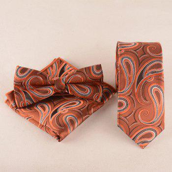 Business Suit Cashews Pattern Tie Pocket Square Bow Tie