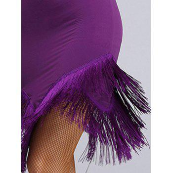 Mesh Insert Fringed Asymmetrical Dance Dress - PURPLE PURPLE