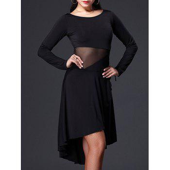 Mesh Insert Asymmetrical Dance Dress
