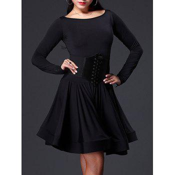 Long Sleeve Slimming A Line Dance Dress - BLACK 2XL