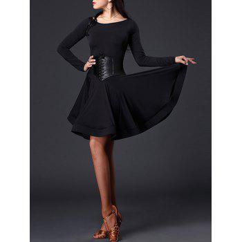 Long Sleeve Slimming A Line Dance Dress - BLACK L