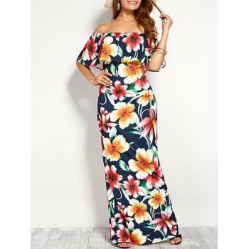 Off Shoulder Flounce Long Floral Dress for Wedding