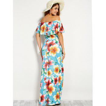 Off Shoulder Flounce Long Floral Dress for Wedding - CLOUDY CLOUDY