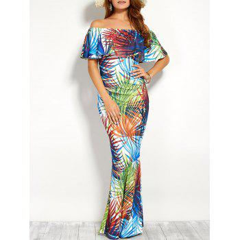 Ornate Print Flounce Off The Shoulder Maxi Dress