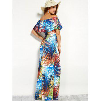 Ornate Print Flounce Off The Shoulder Holiday Fishtail Dress - COLORMIX COLORMIX