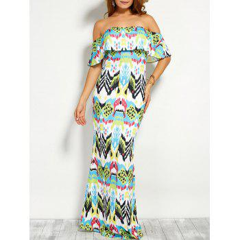 Flounce Off The Shoulder Printed Maxi Dress