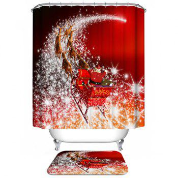Santa Coming Design Waterproof Christmas Shower Curtain