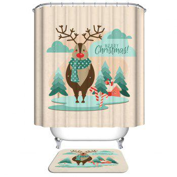 Christmas Deer Waterproof Shower Curtain Bathroom Decoration