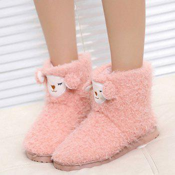 Flat Heel Color Block Snow Boots