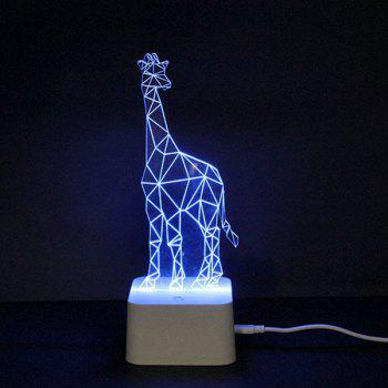 Color Changing 3D Visual Giraffe Remote Control LED Night Light - COLORFUL