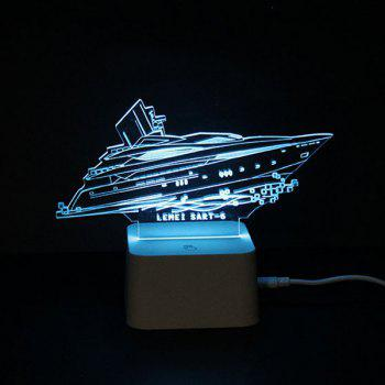 Color Changing 3D Visual Yacht Remote Control LED Night Light - COLORFUL