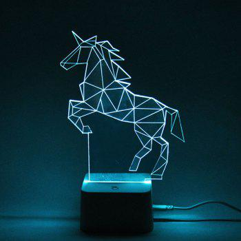 Color Changing 3D Visual Remote Control Horse LED Night Light - COLORFUL