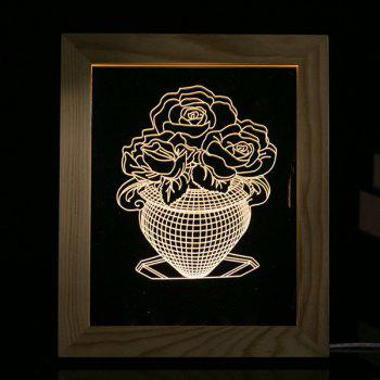 Flower Vase Wooden Photo Frame LED Night Light Hoom Decoration