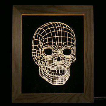 Skull Pattern Wooden Photo Frame LED Table Night Light