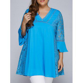 Lacework Splicing Hollow Out Plus Size Blouse