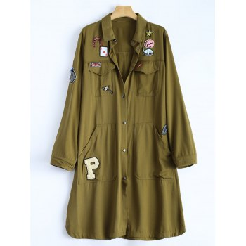 Shirt Neck Patched Duster Coat