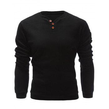 Pullover Three Buttons V Neck Sweatshirt
