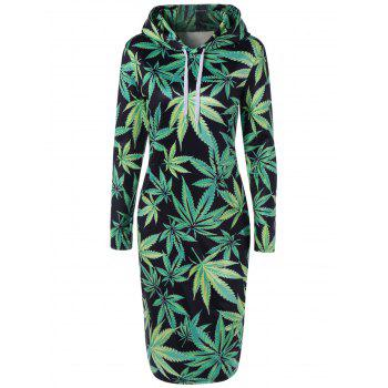 Casual Drawstring 3D Leaves Printed Hooded Dress