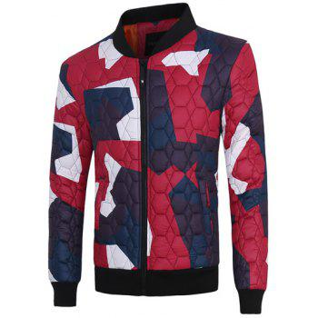 Stand Collar Geometric Pattern Color Block Jacket
