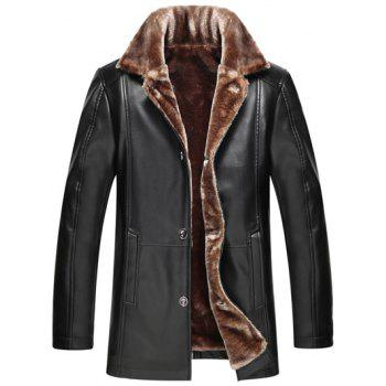 Faux Fur Collar Button Up PU Leather Jacket