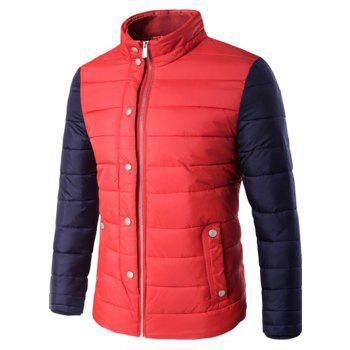 Stand Collar Zip Up Contrast Sleeve Padded Jacket
