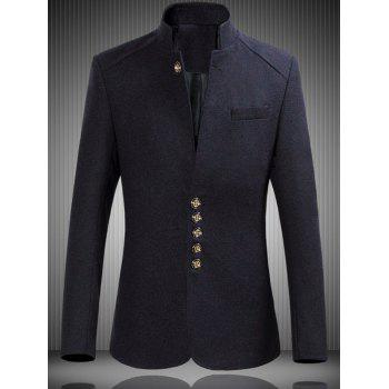 Mandarin Collar Wool Mix Heather Jacket