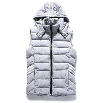 Three Stripes Zip Up Hooded Quilted Vest