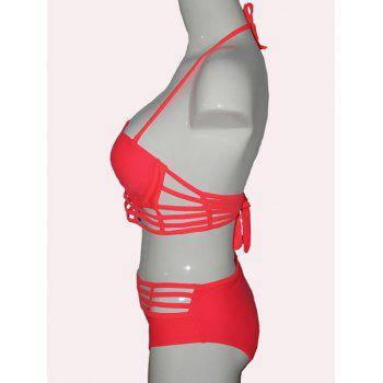 Hollow Out Halter Bikini Set - WATERMELON RED M
