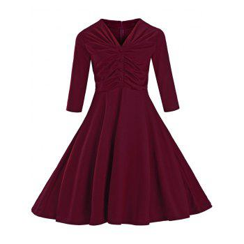 Ruched Slim Fit Swing Dress - WINE RED M