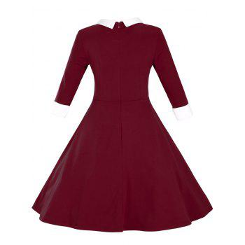 Paneled Color Block Swing Dress - WINE RED WINE RED