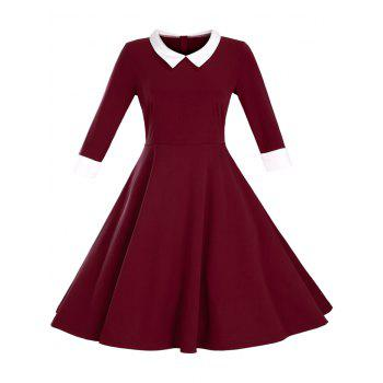 Paneled Color Block Swing Dress - WINE RED L