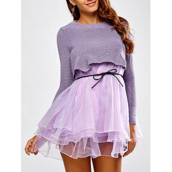 Crop Knitwear and Layered Organza Cake Dress