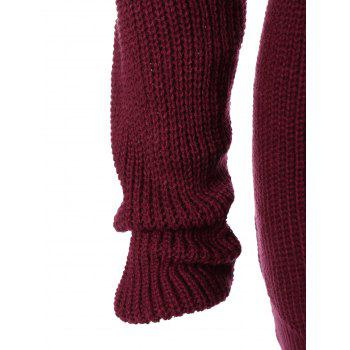 Pull chunky long a capuche - Rouge vineux S