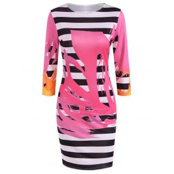 Splatter Paint Striped Pencil Dress