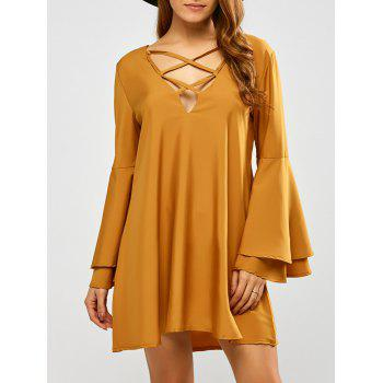 V Neck Reversible Flare Sleeve Lace Up Mini Dress