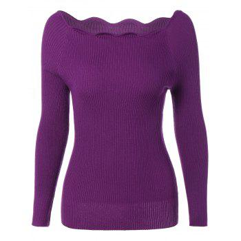 Boat Neck Ribbed Scalloped Jumper