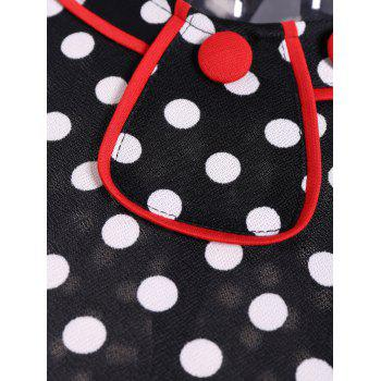 Contrast Trim Polka Dot Mermaid Dress - WHITE/BLACK WHITE/BLACK